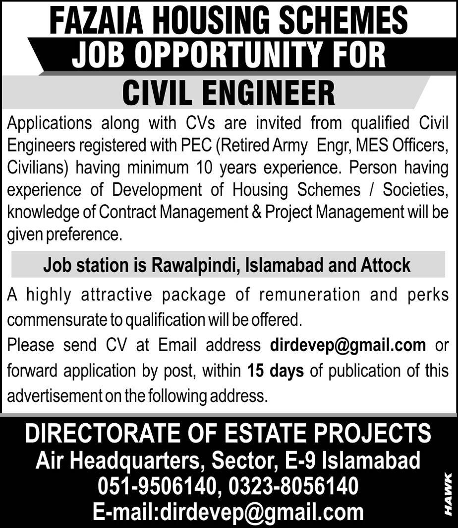 Jobs In Fazaia Housing Schemes Rawalpindi, Islamabad Nov 2017