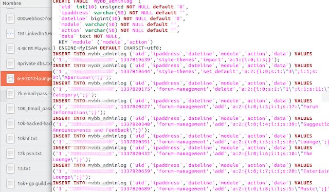 Direct database dump image