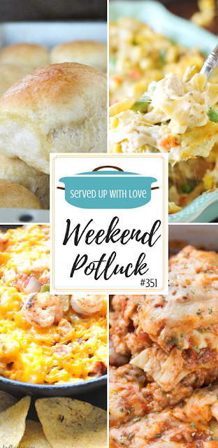 One Hour Dinner Rolls, Jambalaya Dip, Leftover Turkey Noodle Casserole, Grandmas Crock Pot Lasagna and more are featured at Weekend Potluck. #potluck #easyrecipes