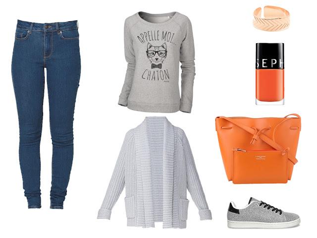 Tenue avec sweat gris Appelle moi chaton ! - ArteCita ECO Fashion