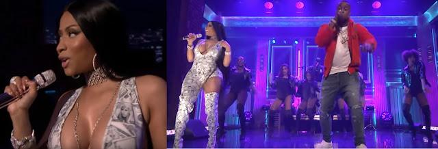 Still from the live perfomance of Yo Gotti ft Nicki Minaj 'Rake It Up' in Tonight's Show with Jimmy Fallon
