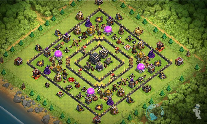 Base Farming TH 9 COC Update Bomb Tower Terbaru 2017 Tipe 10