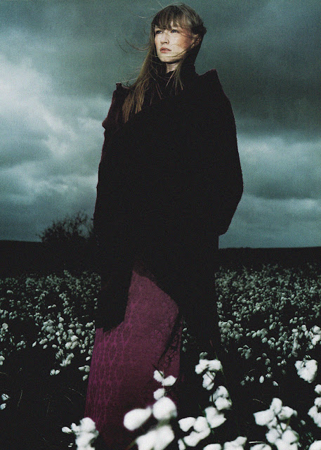 """Jade Parfitt in """"Légendes"""". Photographed by Éric Traoré for Vogue Paris, October 1999. Dark 90's photography, field of white flowers, wiccian, magic, witch"""