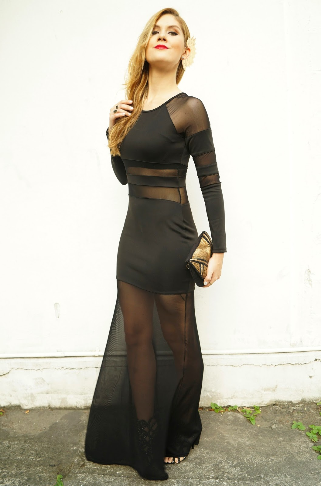 This black dress is the perfect mix between covered up and sexy!