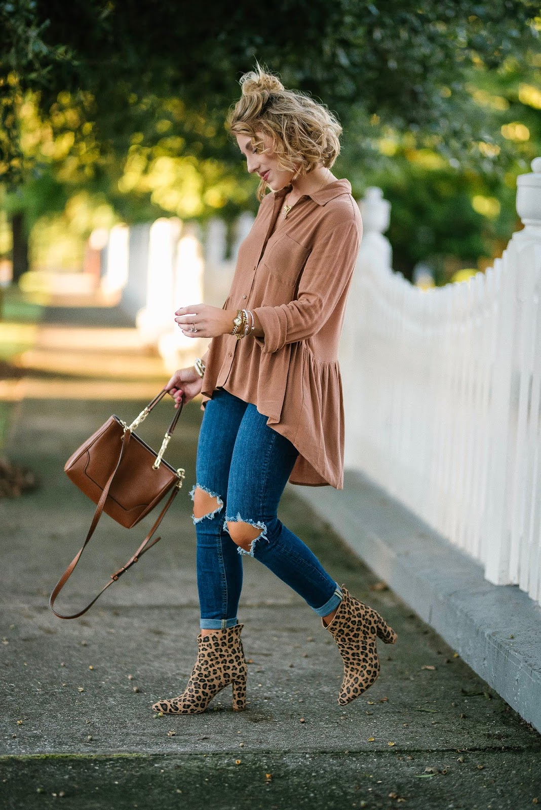 Fall Style: Under $60 High/Low Blouse + Leopard Booties - Something Delightful Blog