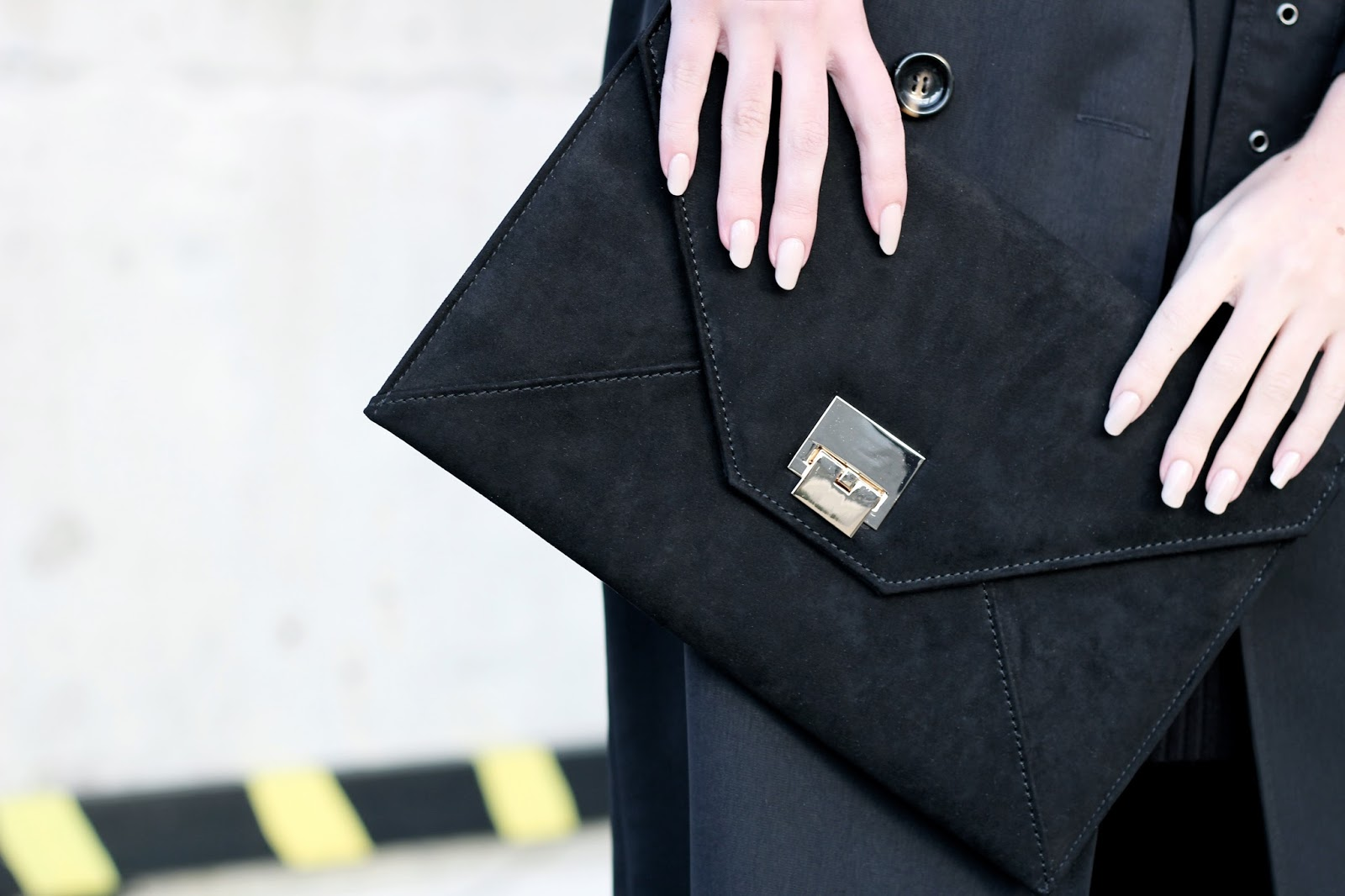 Black suede envelope clutch silver by Boohoo