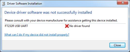 Erro instalação driver FT232R USB UART