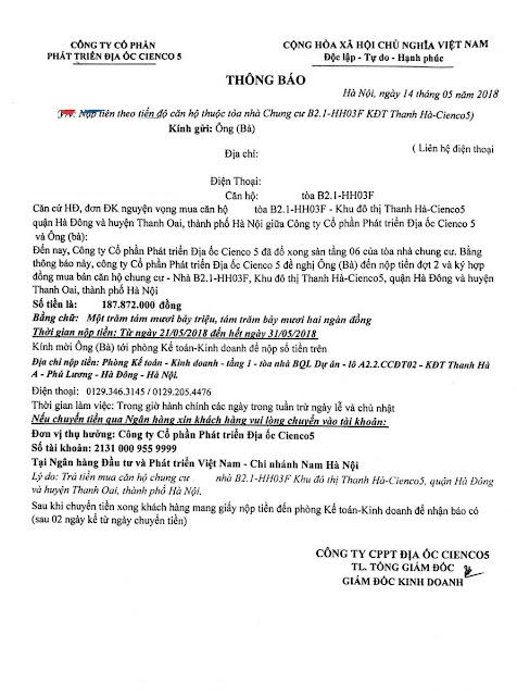 Thông Báo Đóng Tiền Đợt 2 Và Ký Hợp Đồng Mua Bán Căn Hộ Chung Cư B2.1 HH03D, E, F Thanh Hà