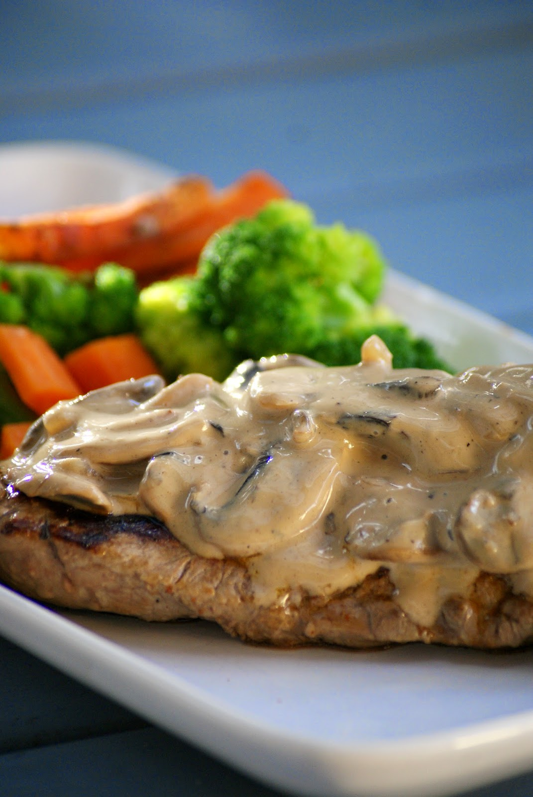 Steak with Healthy Creamy Mushroom Sauce