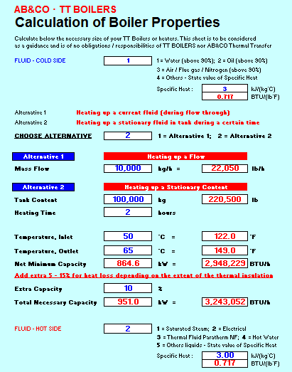 Download Heating Boiler Calculation Sheets