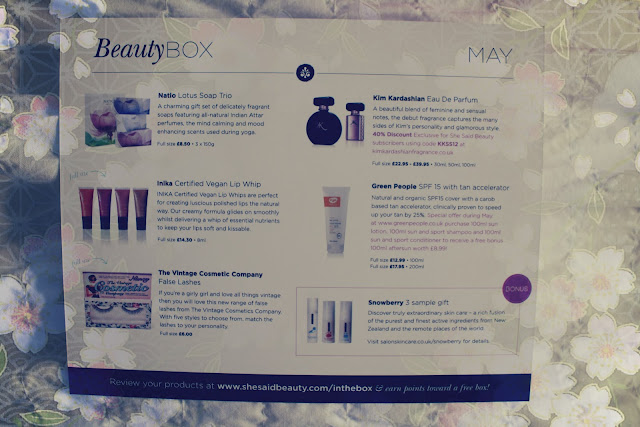 She Said Beauty Box May Edition contents sheet