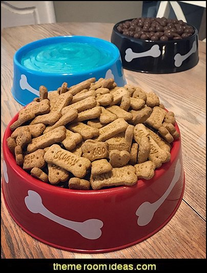 puppy themed birthday party -  kids dog theme birthday party - dog birthday party decorations - Puppy Birthday Party Supplies - pet party paw prints - dog bone shaped decorations - kids birthday pet theme party,