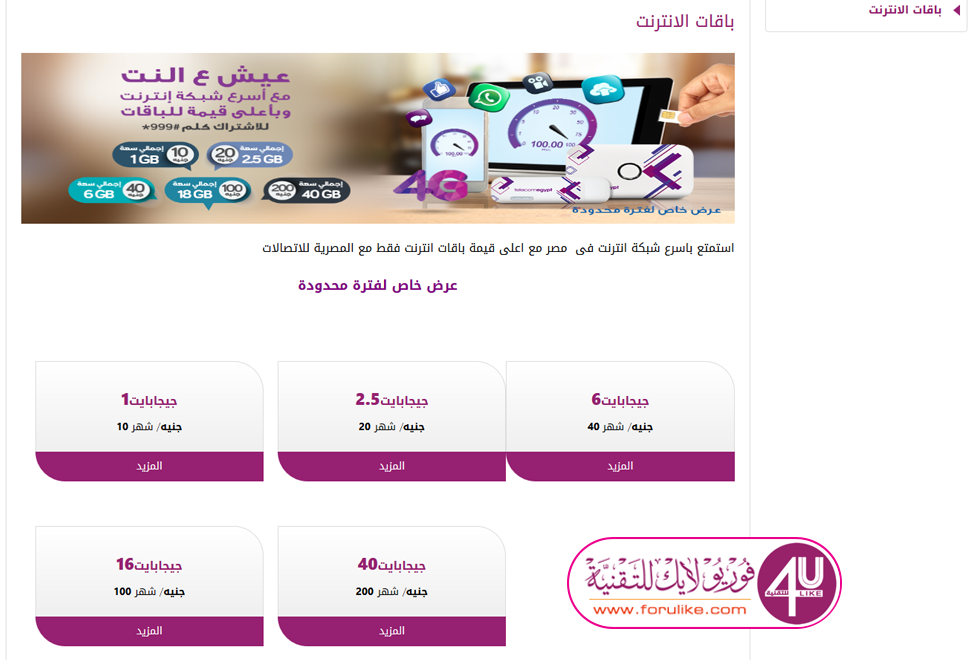 أنظمة وأسعار خطوط المحمول وباقات الإنترنت الجديدة من المصرية