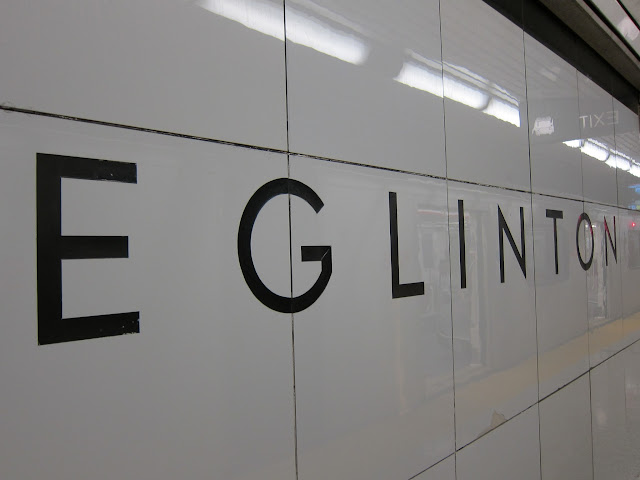 Eglinton station identification tiling on Vitrolite.