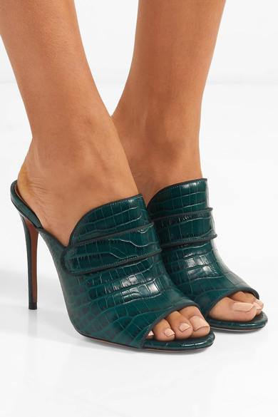 Aquazzura Dylan Croc Effect Leather Mules