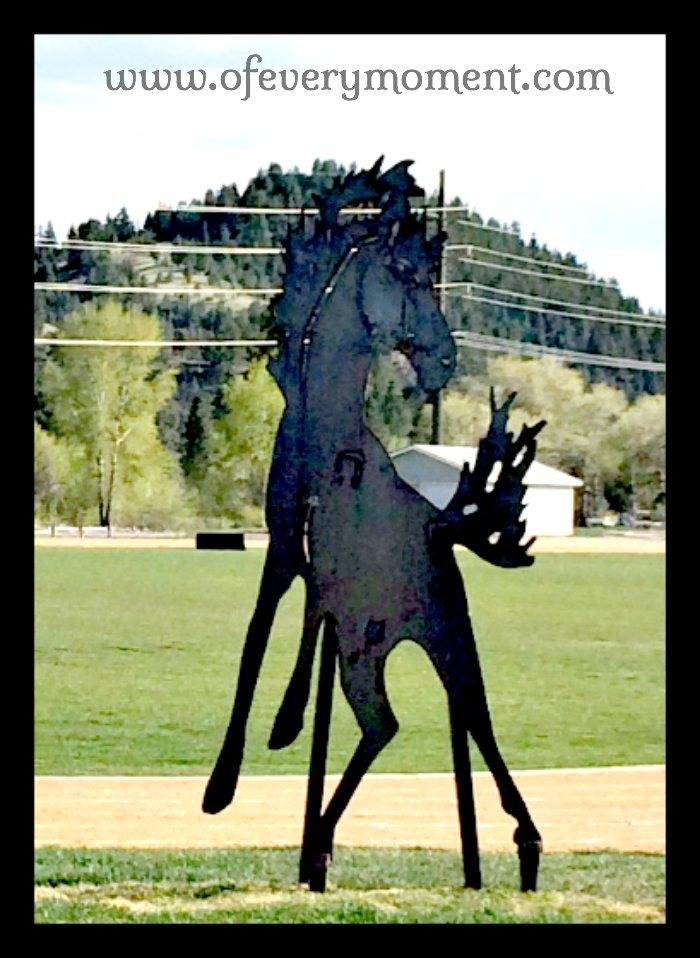 Mustang, statue, mascot, Montana