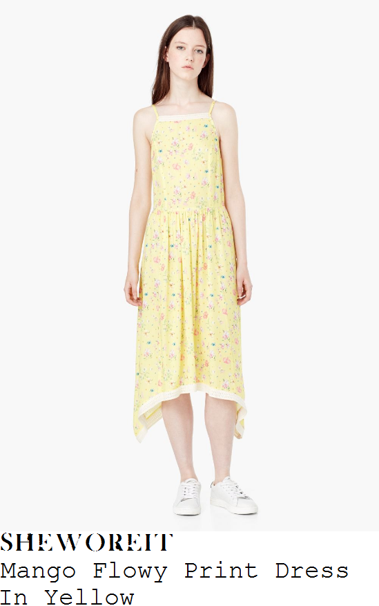 caroline-flack-mango-lemon-yellow-cream-and-multicoloured-floral-print-sleeveless-crochet-trim-detail-dropped-waist-asymmetric-midi-dress