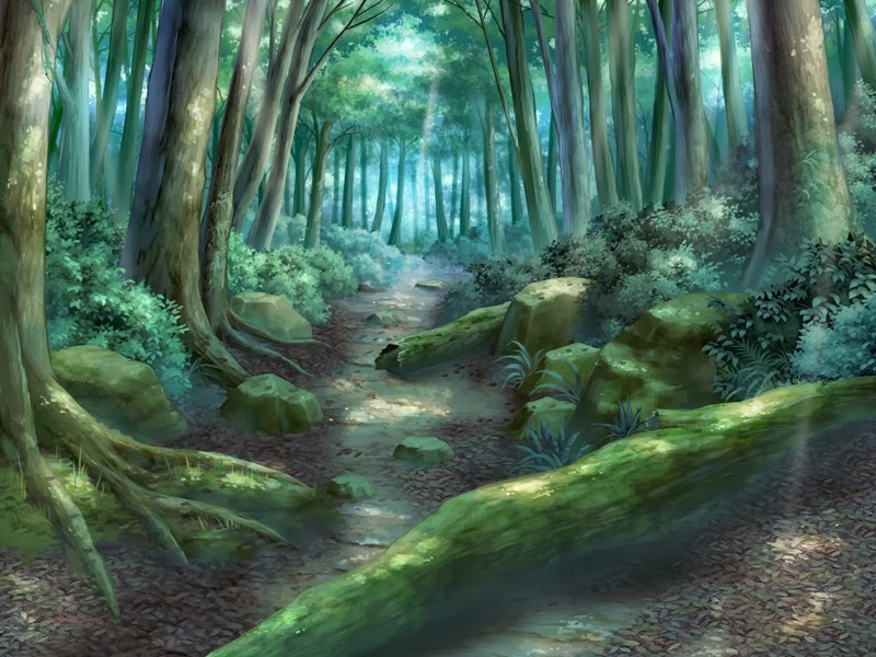 Anime landscape green forest path anime background - Anime forest background ...