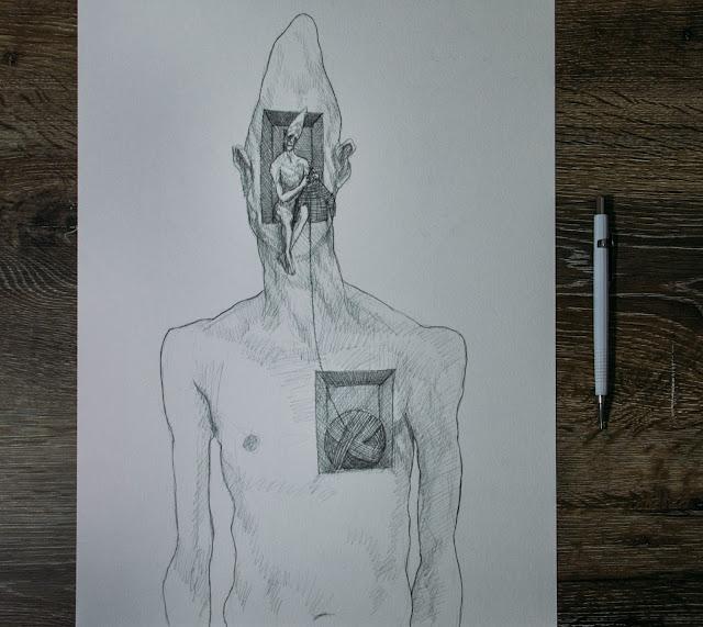 homem tricotando o fio da meada do seu próprio coração, embruxados susano correia arte desenho