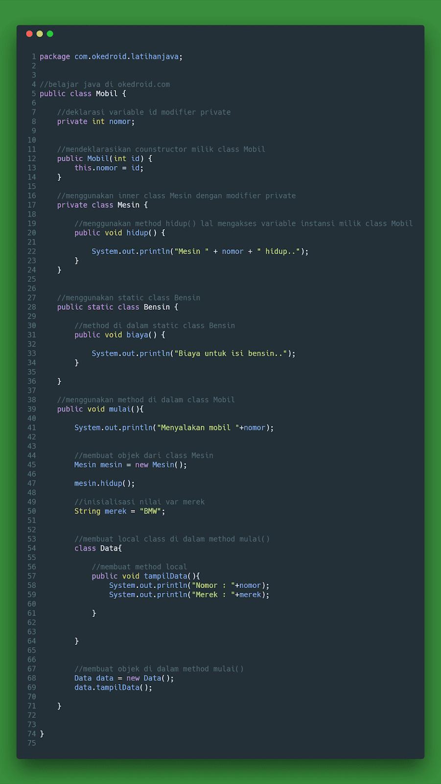 contoh kegunaan code program regular pengertian fungsi materi inner class pada java