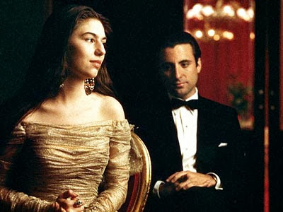Sofia Coppola and Andy Garcia in Godfather: Part III, directed by Francis Ford Coppola