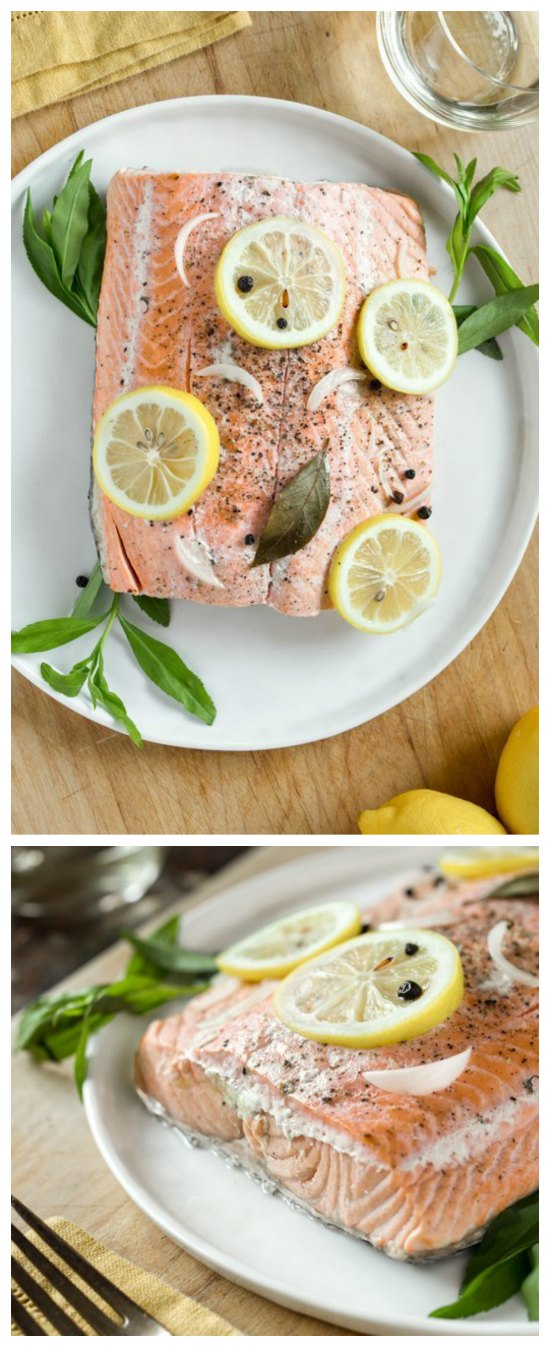 Slow Cooker Poached Salmon from The Kitchn featured on SlowCookerFromScratch.com