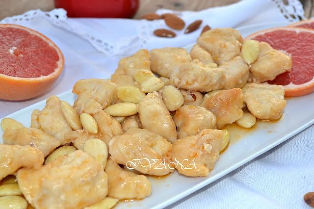 Пилешки хапки с бадеми и грейпфрут