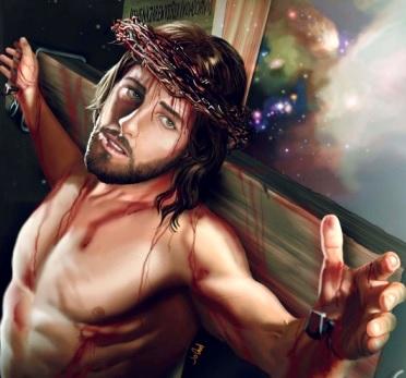 Dibujo de Jesús crucificado o Jesús en la cruz a colores