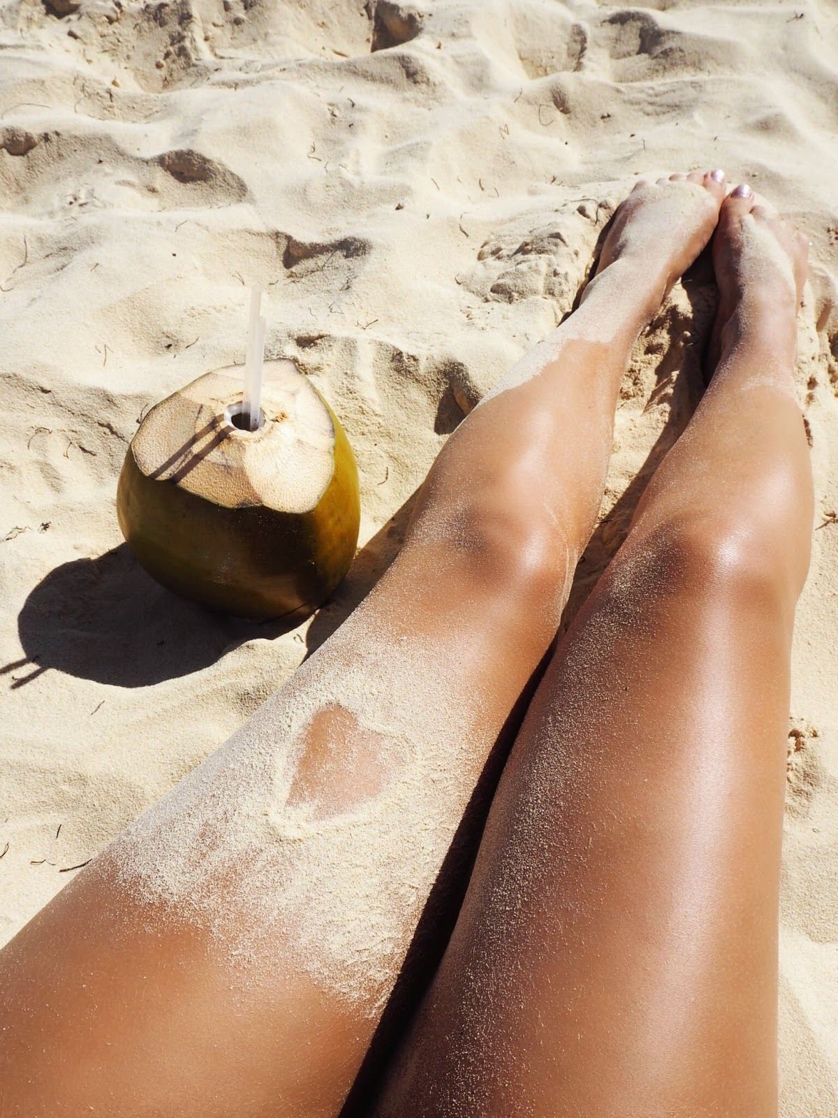 Tanned Sandy Legs with Natural Fresh Coconut Water