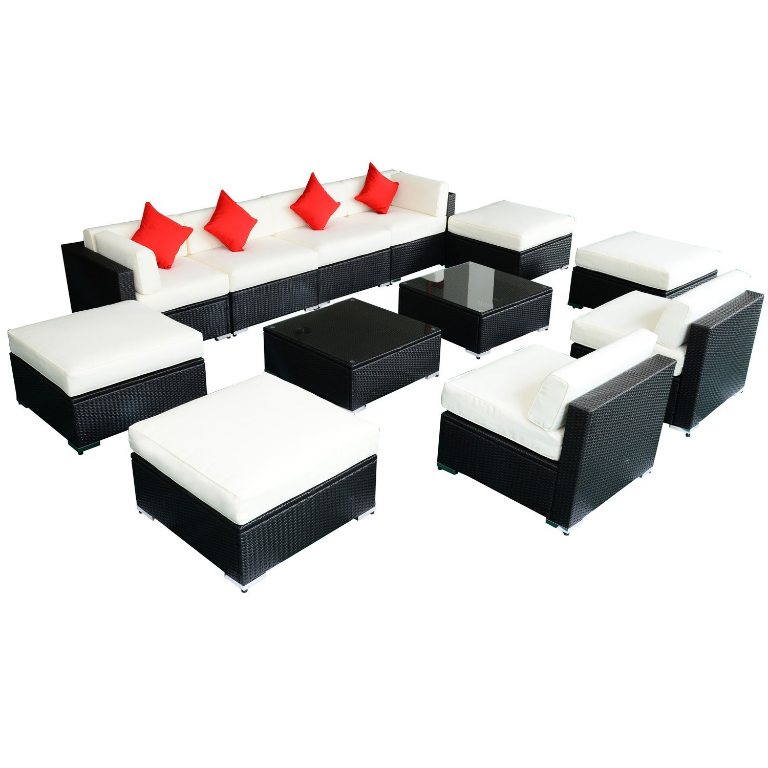 outsunny 4pc rattan wicker outdoor patio furniture sofa set small room sofas 12 pc deluxe sectional