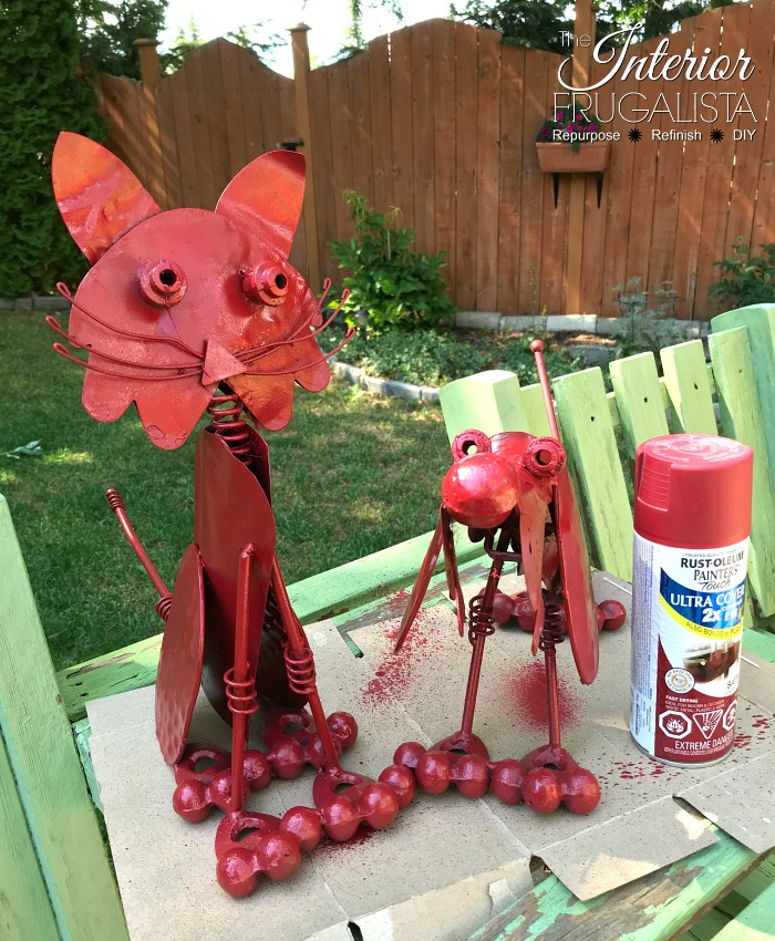 DIY Garden Decor Spray Painted Red