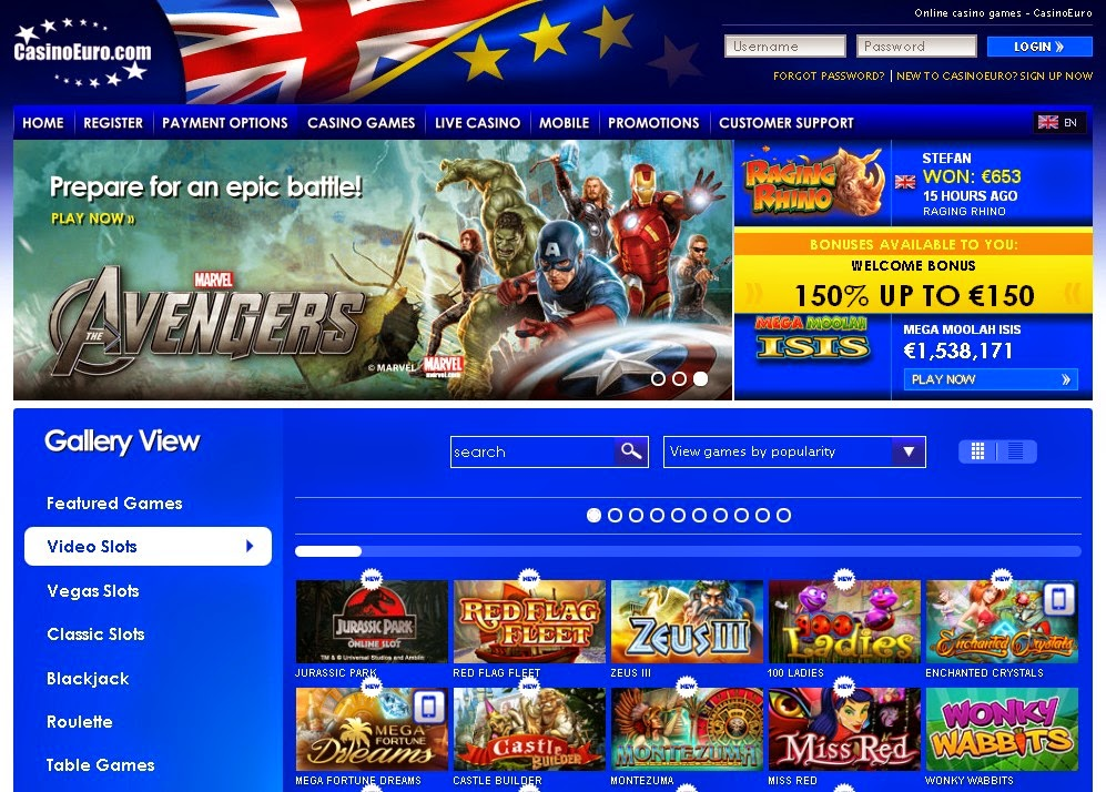 CasinoEuro Slots Games Screen