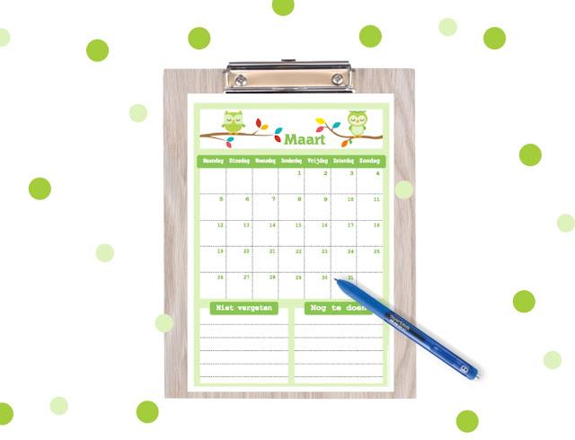 maart kalender om te printen, stoere kalender, kalender voor kinderen, gratis printable, dino kalender, monstertrucks printable, dino printables, maart 2018 kalender, kalender 2018 printen