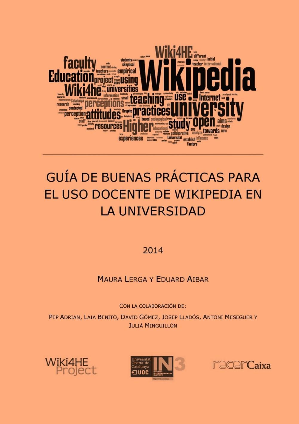 Guía de buenas prácticas para el uso docente de Wikipedia en la universidad