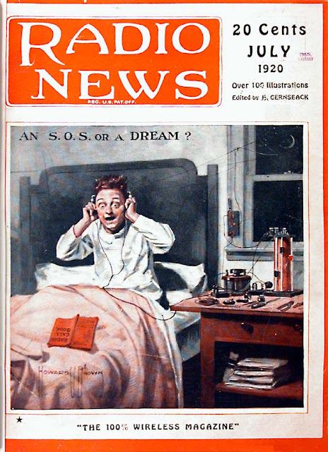 Cover of Radio News magazine July 1920 An SOS or a Dream?  Jingles and other stories of The American Dream. marchmaton.com