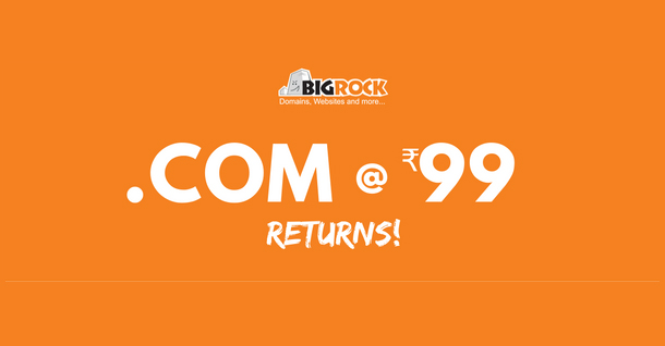 BigRock India Mega offers .com Domains @ Rs.99