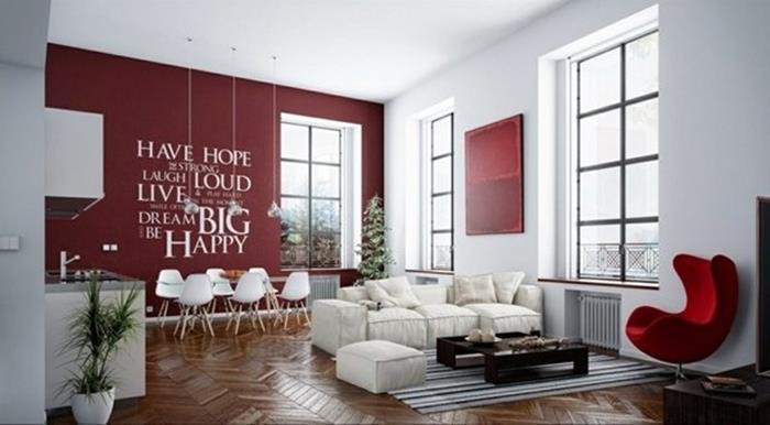 kırmızı beyaz oturma odaları