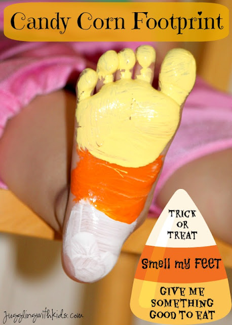Candy corn foot print craft