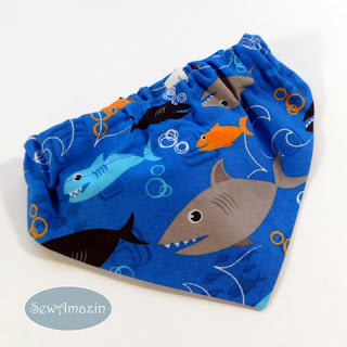Shark Dog Bandana, scrunchie style, ready to ship