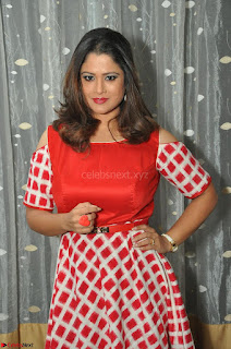Shilpa Chakravarthy looks super cute in Red Frock style Dress 022.JPG