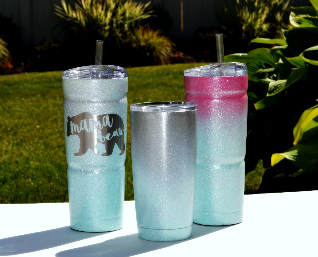 Ombre Spray Painted Glitter Cold Cup Rachel Teodoro - Vinyl cup brush
