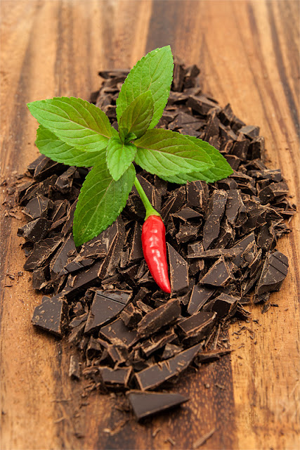 Dark chocolate, mint and chili Tabasco
