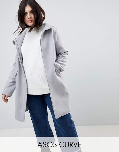 ASOS CURVE Hooded Slim Coat with Zip Front €49.49