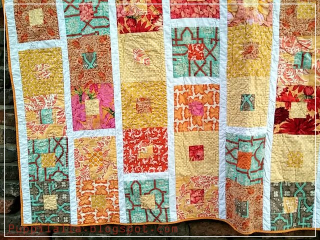 Puppilalla : Simple Framed Squares Patchwork Quilt - Indian Summer : colourful patchwork quilt - Adamdwight.com