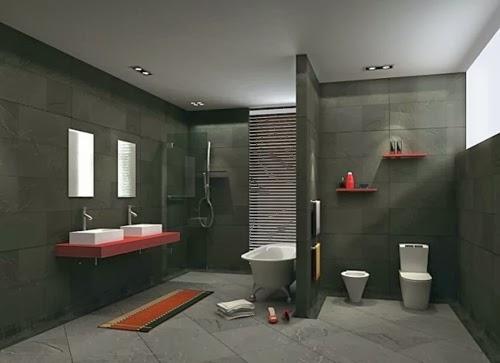 baño color rojo y negro