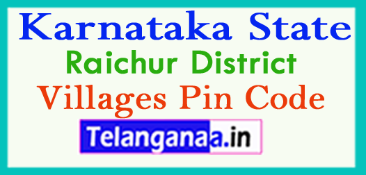 Raichur District Pin Codes in Karnataka State