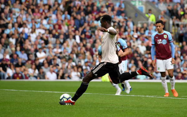 Paul Pogba of Manchester United has his penalty saved during the Premier League match between Burnley FC and Manchester United at Turf Moor on September 2, 2018 in Burnley, United Kingdom.