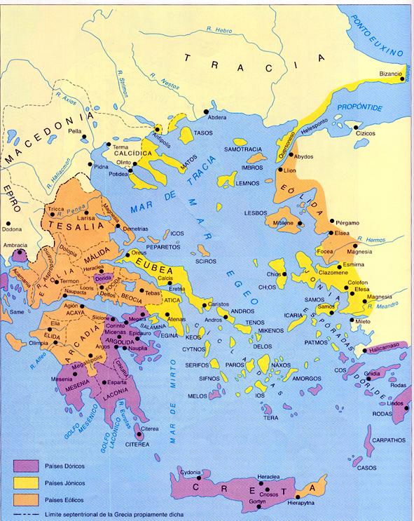 Mapa De Antigua Grecia.Geoitaca La Situacion Y Las Caracteristicas Fisicas De La Antigua Grecia