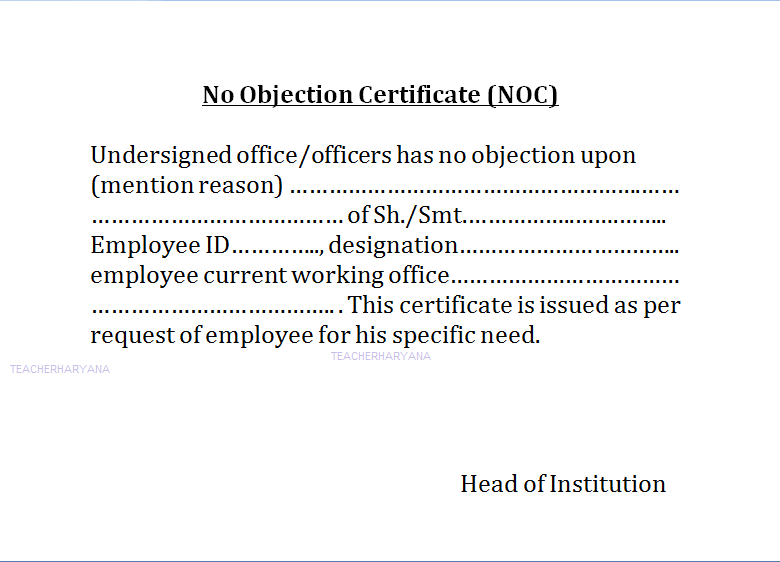 No Objection Certificate noc No Complaint Enquiry Pending No – Format of Noc Letter