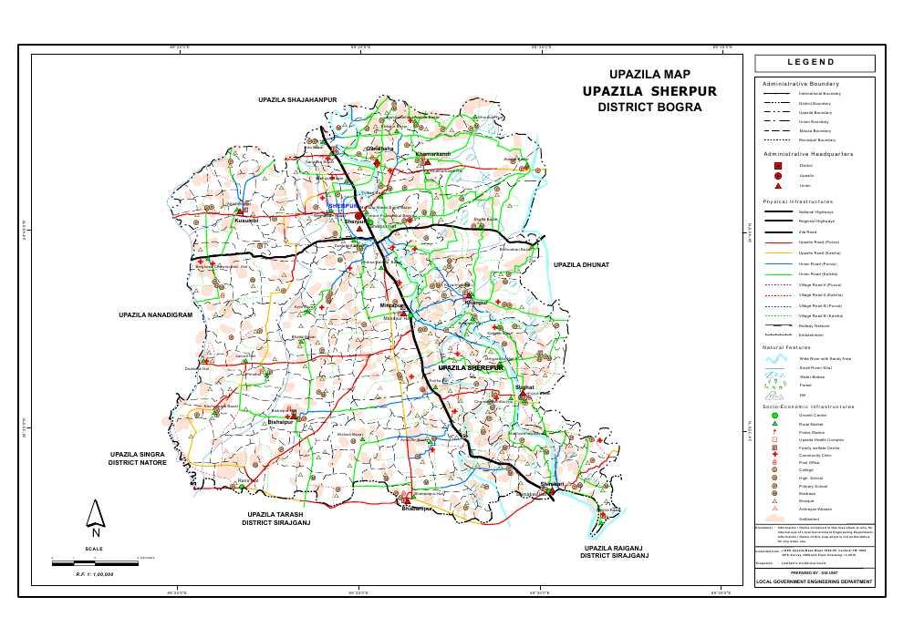 Sherpur Upazila Map Bogra District Bangladesh